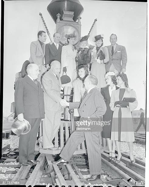 The first train to leave from the new Los Angeles Union passenger Terminal was a combination of 70 year old engine and train used by Cecil B DeMille...