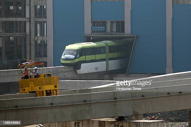 The first trial run of the monorail is conducted at a car shed at Wadala on February 13 2012 in Mumbai India The work on the monorail started in 2008...