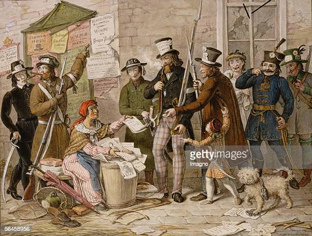 The first uncensored newspaper is sold in the streets of vienna after the revoltion of 1848 Watercolour by Johann Nepomuk Hoefel [Die erste...