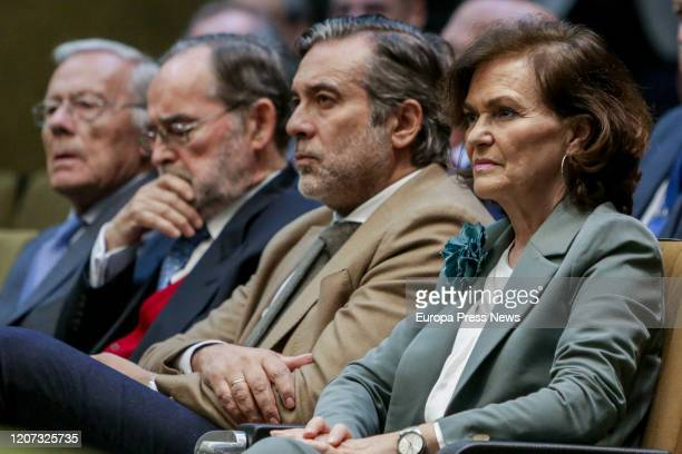 The First Vice president and Minister of the Presidency Relations with the Courts and Democratic Memory Carmen Calvo together with the counsellor of...
