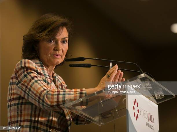 The first vice president and minister of the Presidency Relations with the Courts and Democratic Memory Carmen Calvo is seen delivering her speech...