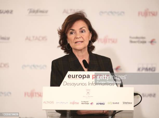 The first vice president of the Government and minister of the Presidency Relations with the Courts and Democratic Memory Carmen Calvo is seen...