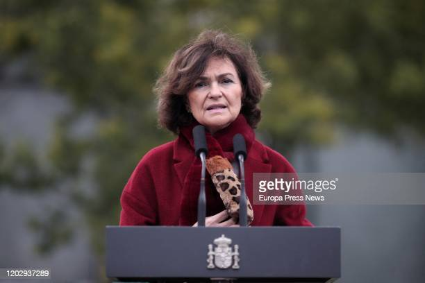 The first vice president of the Government Carmen Calvo is seen delivering her speech during the inauguration of a memorial to honor the Spanish...