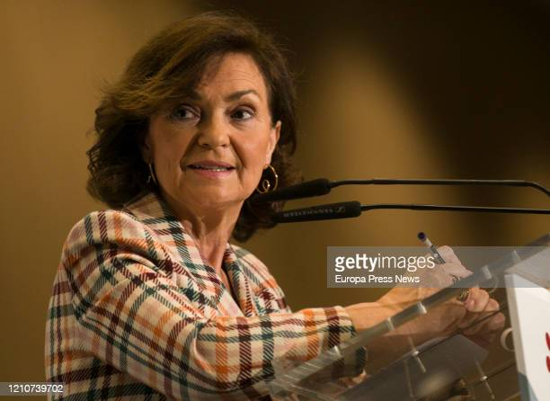 The first vice president of the Government Carmen Calvo participates in a breakfast at the 'Foro' of media group Joly on March 06 2020 in Sevilla...