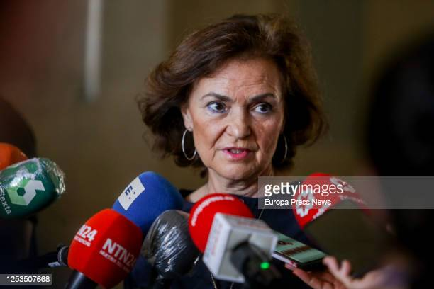 The First Vice President of the Government Carmen Calvo speaks to the press during her visit to the Royal Palace to learn about the measures that...