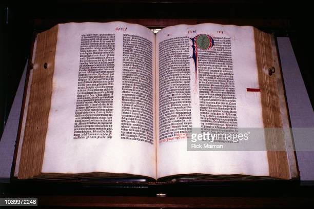 The first volume of the first edition Latin Vulgate translation of the Bible including books Genesis Psalms Volume two is missing This copy is one of...