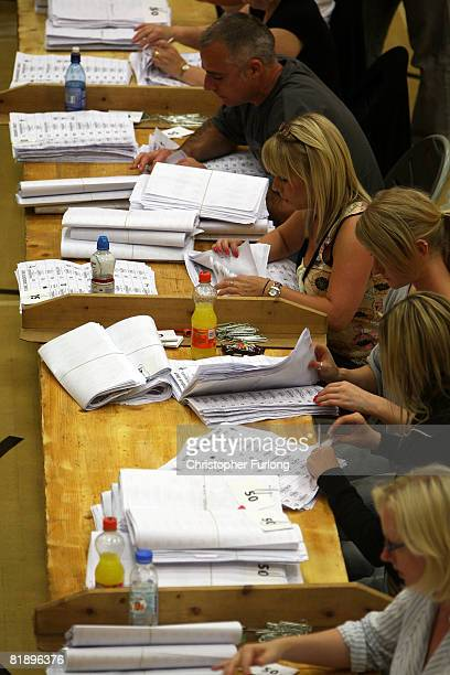 The first votes are counted as ballot boxes arrive at Haltemprice Leisure Centre in the Haltemprice and Howden by-election on July 10, 2008 in...