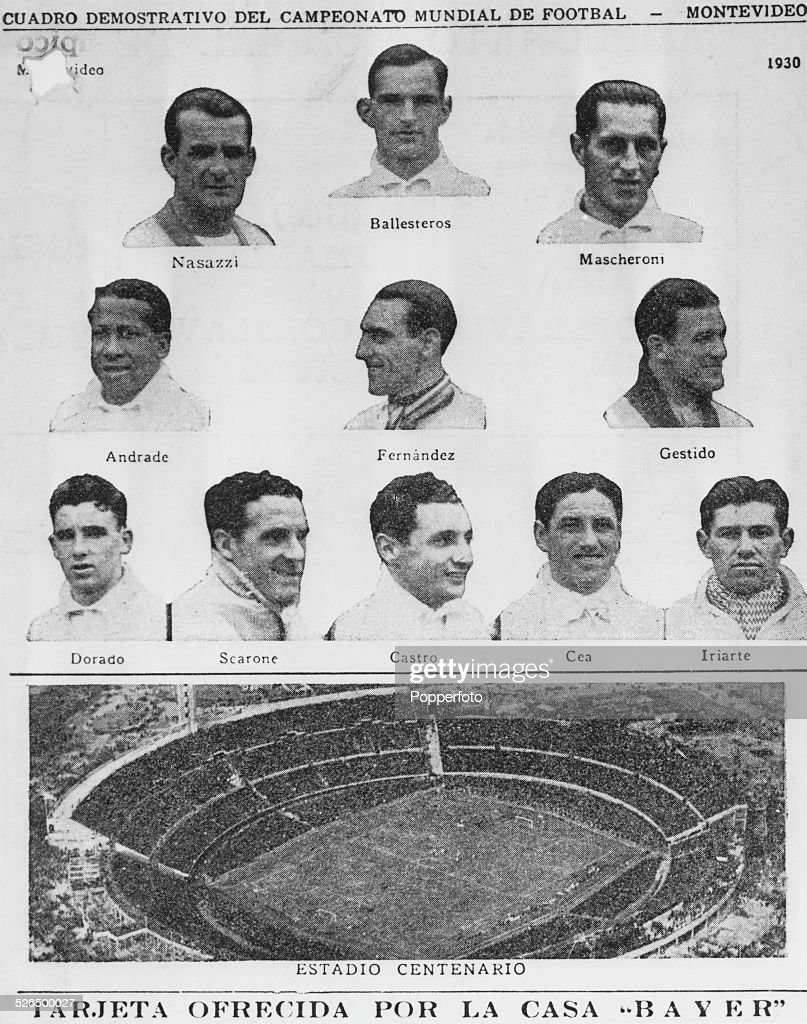 The first winners of the Jules Rimet Trophy, Uruguay, featured on an advertising card for Bayer pharmaceuticals. Shown on the card are the players Enrique Ballestrero, José Nasazzi, Ernesto Mascheroni, José Andrade, Álvaro Gestido, Lorenzo Fernández, Héctor Scarone, Pedro Cea, Pablo Dorado, Héctor Castro, Santos Iriarte and the venue for the first World Cup Final, the Estadio Centenario, Montevideo, Uruguay, 1930.
