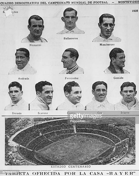 The first winners of the Jules Rimet Trophy Uruguay featured on an advertising card for Bayer pharmaceuticals Shown on the card are the players...