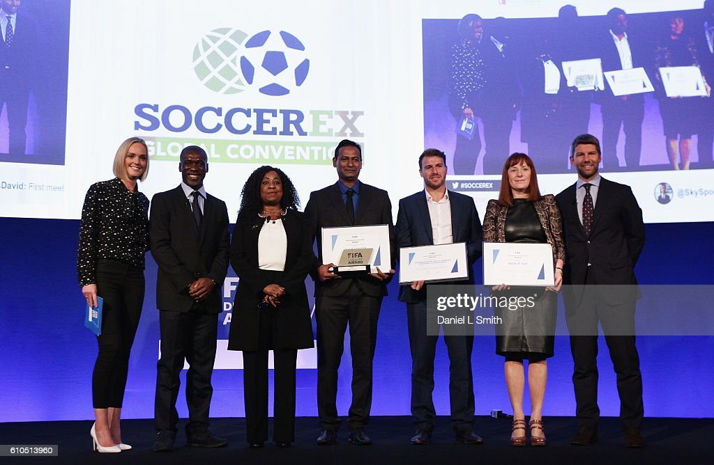The first-ever FIFA Diversity Award is presented to Abhijeet Barse (C) from Slum Soccer with (L-R) Amanda Davies, Clarence Seedorf, Fatma Samba Diouf Samoura, FIFA Secretary General, Ben Biggs of the International Gay & Lesbian Football Association, Roisin Woods from Kick It Out and Thomas Hitzlsperger during day 1 of the Soccerex Global Convention 2016 at Manchester Central Convention Complex on September 26, 2016 in Manchester, England.