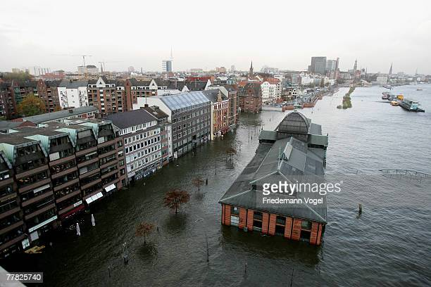 The Fischmarkt is seen during the flood on November 9 2007 in Hamburg Germany