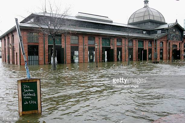 The Fischmarkt is seen under water during the flood on November 9 2007 in Hamburg Germany