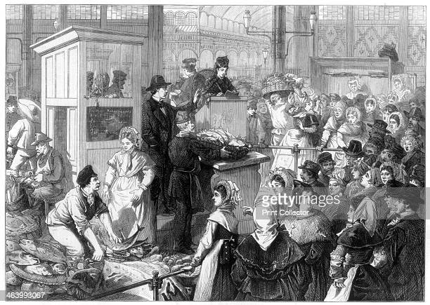 The Fish Market, the Lenten season in Paris, 1875. A print from The Illustrated London News, 6th March 1875.