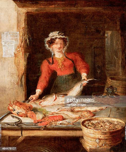 'The Fish Stall' c1830 The female stallholder is cutting a codfish The table also has two female crabs eels a piece of salmon a boiled lobster...