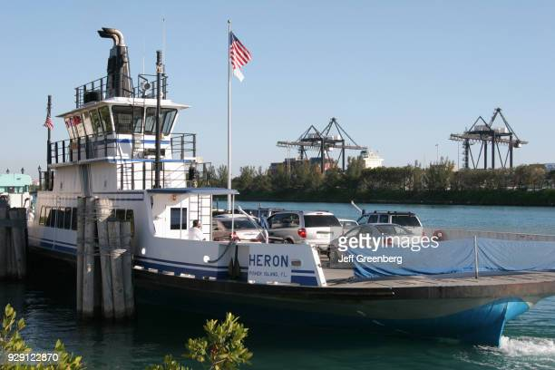 The Fisher Island private auto ferry Heron