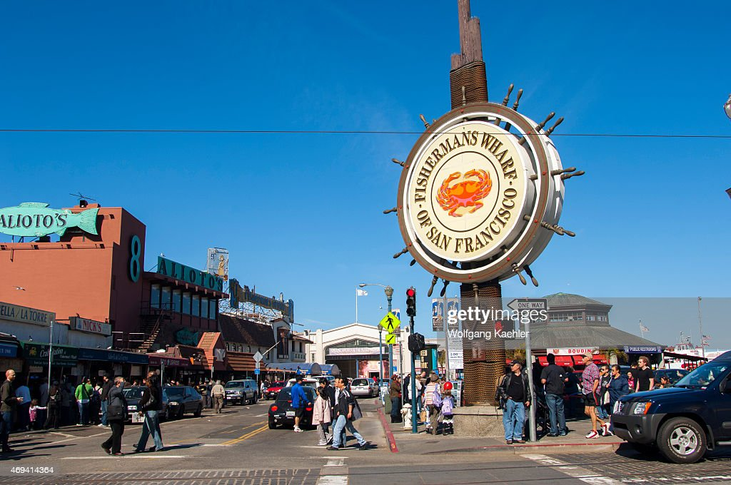 The Fishermans Wharf and sign in San Francisco,... : News Photo