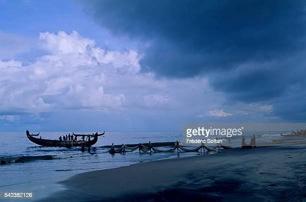 The fishing season is influenced by the seasonal heavy rains of the southwest summer monsoon | Location Purukkad Kerala India