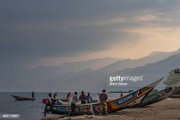 The fishing village of Kavanyongi on the Northern shores of Lake Edward on August 9 2013 inside Virunga National Park DRC This lake shore village...