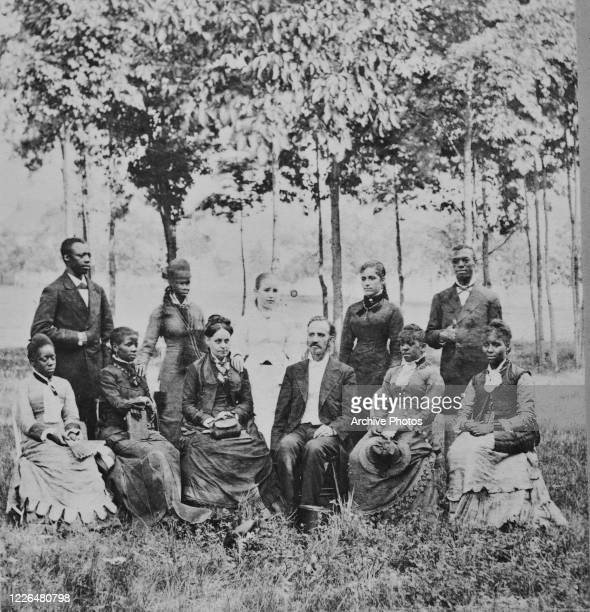 The Fisk Jubilee Singers, an African-American a cappella ensemble made up of students from Fisk University in Nashville, Tennessee, during a trip to...