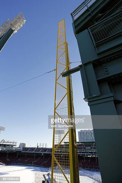 The Fisk pole atop the Green Monster at Fenway Park before a Frozen Fenway NCAA Men's Division 1 hockey game between the Boston University Terriers...