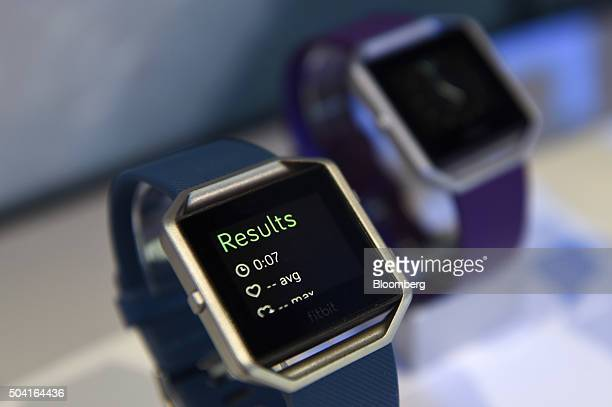 The Fitbit Inc Blaze fitness tracker is displayed during the 2016 Consumer Electronics Show in Las Vegas Nevada US on Friday Jan 8 2016 CES is...