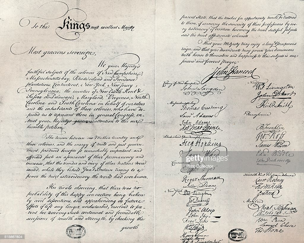 The Fitzwilliam copy of the Olive Branch Petition, 1775 : News Photo