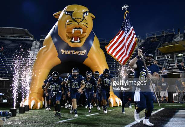 The FIU Golden Panthers take the field before the game against the ArkansasPine Bluff Golden Lions at Ricardo Silva Stadium on September 29 2018 in...