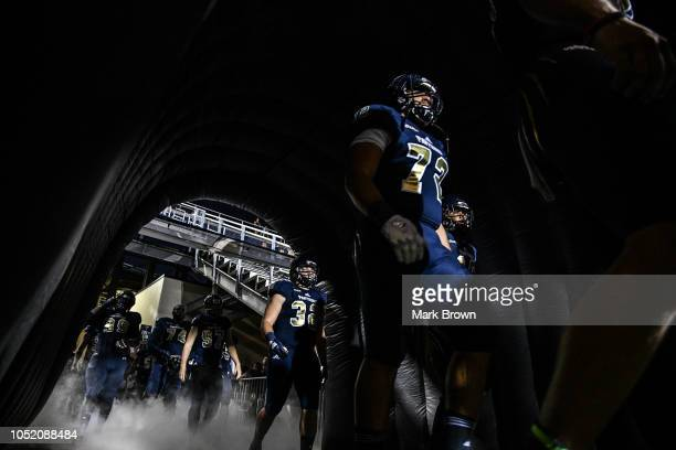 The FIU Golden Panthers wait to take the field before the game against the Middle Tennessee Blue Raiders at Ricardo Silva Stadium on October 13 2018...