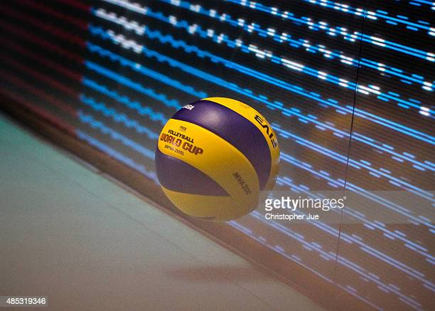 The FIVB Women's Volleyball World Cup Japan 2015 ball is seen on the court in the match between Kenya and Argentina during the FIVB Women's...