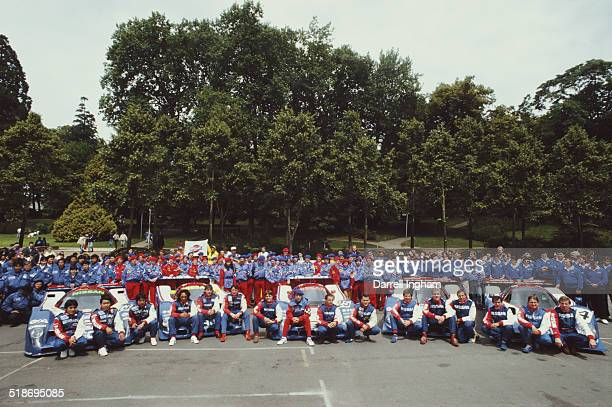 The five car Nissan Motorsports International teams for the FIA World Sportscar Championship 24 Hours of Le Mans race on 11th June 1990 at the...