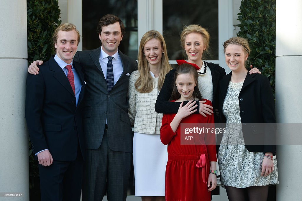 The five children of Princess Astrid, (L-R) Prince Joachim, Prince Amedeo and his fiancee Elisabetta Rosboch von Wolkenstein, Princess Laetitia Maria, Princess Maria Laura and Princess Luisa Maria, pose for a picture on the day of the engagement of Belgian Prince Amedeo (grandson of King Albert II) to Elisabetta Rosboch von Wolkenstein, in the Schonenberg royal residence, home of Amedeo's parents, in Brussels, on February 15, 2014. 27 years old Prince Amedeo and Italian journalist Elisabetta Rosboch von Wolkenstein live in New-York.
