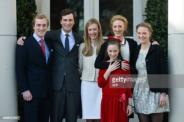 The five children of Princess Astrid, Prince Joachim, Prince Amedeo and his fiancee Elisabetta Rosboch von Wolkenstein, Princess Laetitia Maria,...