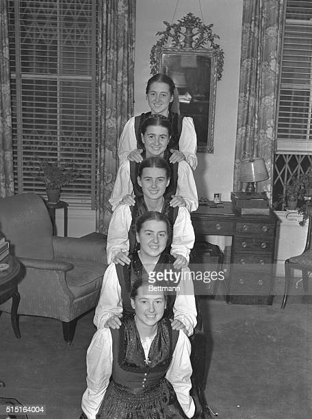 The five daughters of Count and Countess George Von Trapp Maria Martina Hedwig Agathe and Johanna hold an important rehearsal in their hotel room...