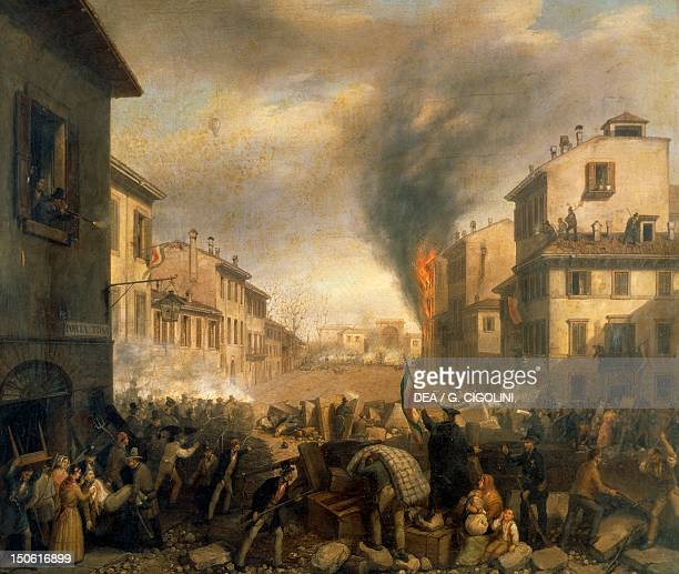 The Five Days of Milan near Porta Tosa March 21 1848 First War of Independence Italy 19th century