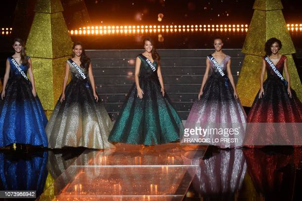 The five finalists, Miss Franche-Comte Lauralyne Demesmay, Miss Reunion Morgane Soucramanien, Miss Tahiti Vaimalama Chaves, Miss Limousin Aude...