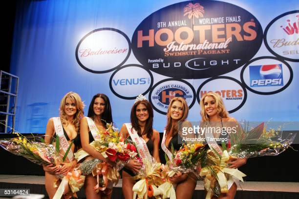 The five finalists Stacie Burns Ambar Martinez Miss Hooters International 2005 Anna Burns Beverly Mullins Sarah Coggin pose at the 2005 Hooters...