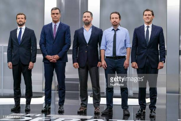 The five main candidates for Spain's prime minister conservative People's Party leader Pablo Casado Spanish prime minister and Spanish Socialist...