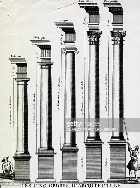 The five orders of architecture engraving 18th century
