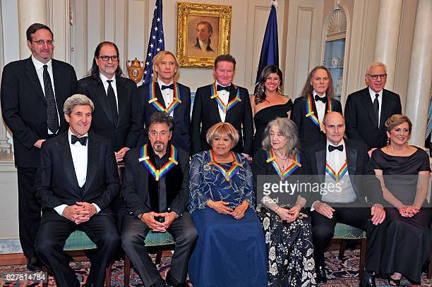 The five recipients of the 39th Annual Kennedy Center Honors pose for a group photo following a dinner hosted by United States Secretary of State...