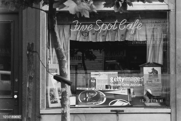 The Five Spot Café a jazz club at 5 Cooper Square in the Bowery neighbourhood of New York City circa 1957 A sign informs patrons that Thelonious Monk...