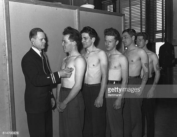 The five Sullivan brothers of Waterloo Iowa stand together during their military physical in early 1942 All five died together in battle
