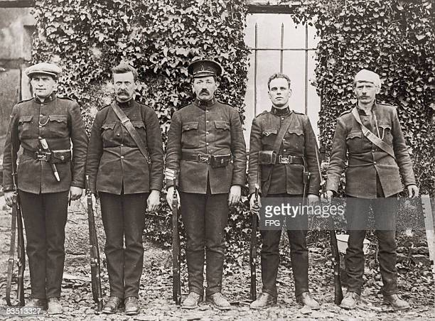 The five surviving Royal Irish Constabulary members after their barracks at Kilmallock County Limerick Ireland was attacked by the IRA on 28th May...