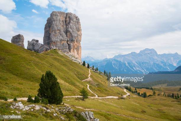 the five towers (cinque torri) as mythical heart of the dolomites, italy. - small group of objects stock pictures, royalty-free photos & images