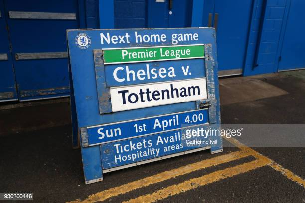 The fixture board advertising the fixture with Tottenham Hotspur is seen ahead of the Premier League match between Chelsea and Crystal Palace at...