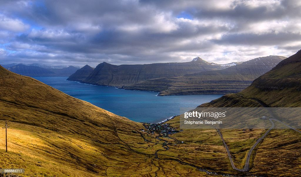 The fjord from Eysturoy, Faroe Islands : ストックフォト