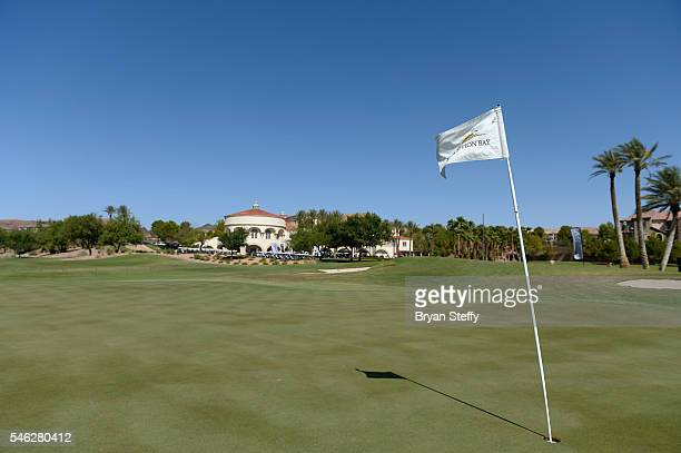 The flag at the 18th hole is seen during the Coach Woodson Las Vegas Invitational Golf Tournament at Reflection Bay Golf Club on July 11 2016 in...