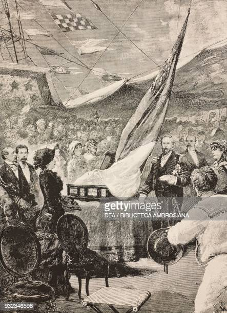 The flag donated by the Roman ladies being presented to the battleship Roma Civitavecchia Italy drawing by Dante Paolocci engraving from...
