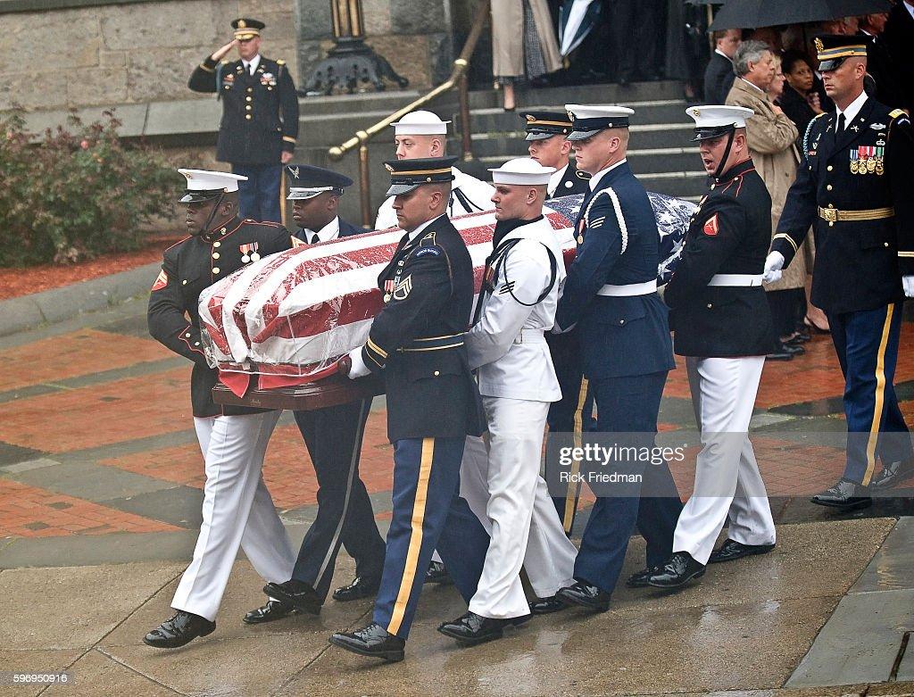 Senator Edward Kenedy Casket: The Flag Draped Coffin Of Senator Edward M. Kennedy Is
