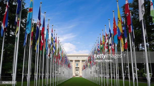 The Flag draped entrance to the United Nations Building in Geneva Switzerland.