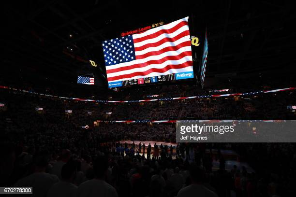 The flag during the national anthem on the jumbotron before the game between the Cleveland Cavaliers and the Indiana Pacers in Round One of the...